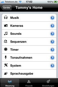 Screenshot von einem Handydisplay mit den Worten: Thommy's Home: Musik, Sounds, Squenz, Kameras,...